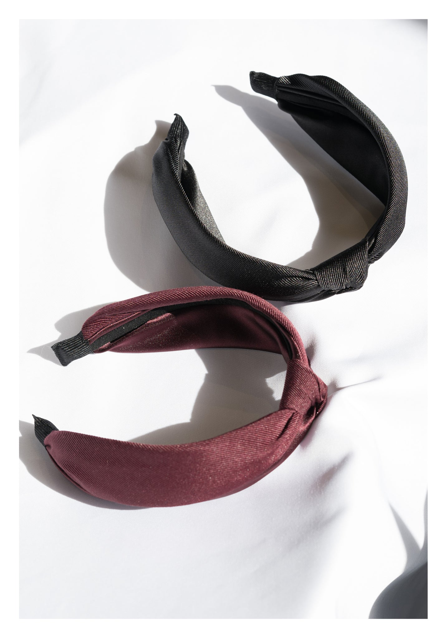 Mixed Satin Knot Wide Headband Black - whoami