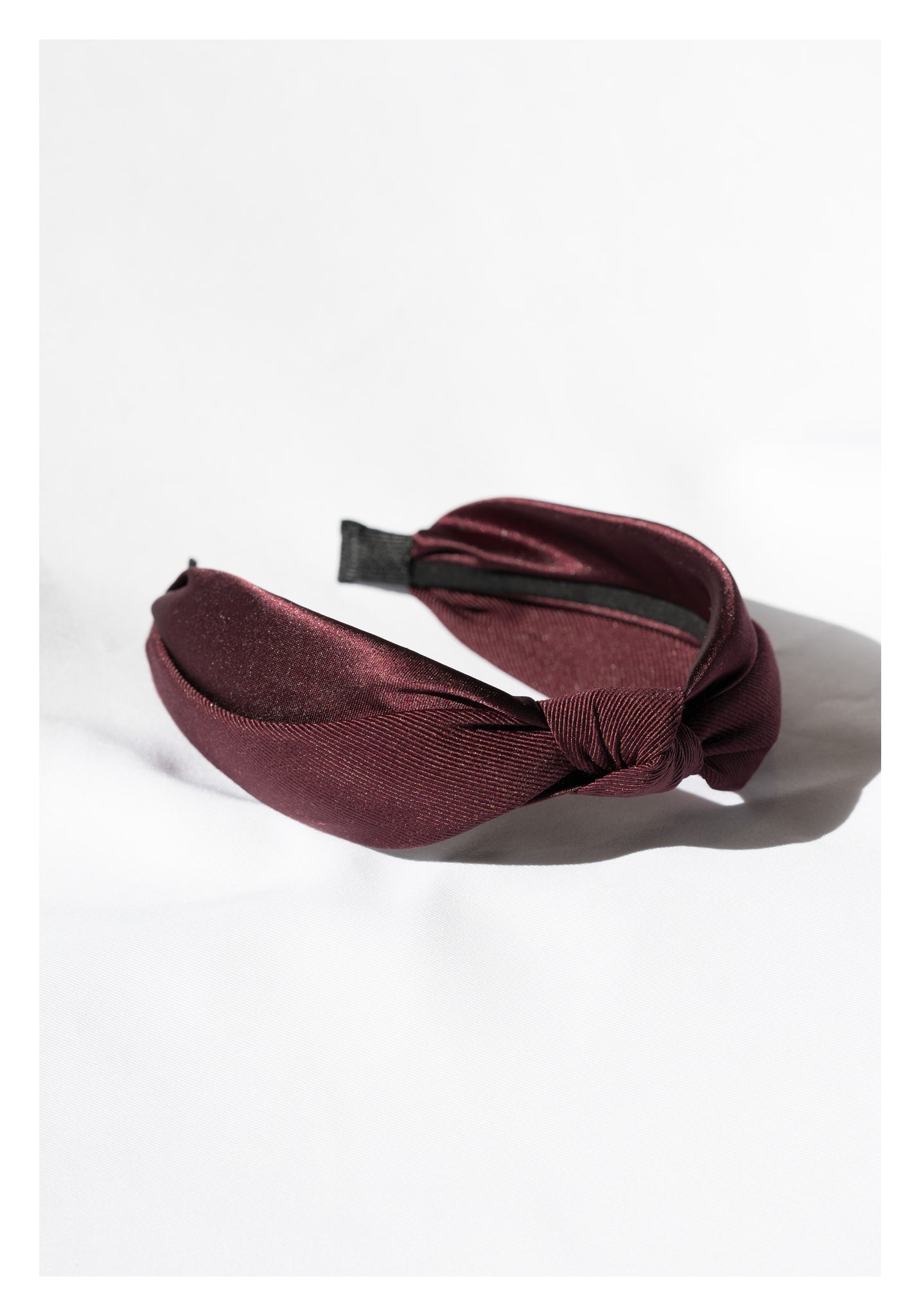 Mixed Satin Knot Wide Headband Wine - whoami