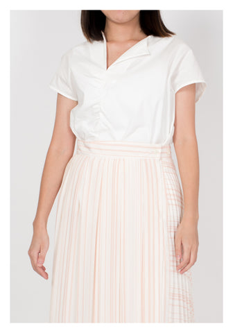 Mixed Stripe Pleated Skirt Pink - whoami