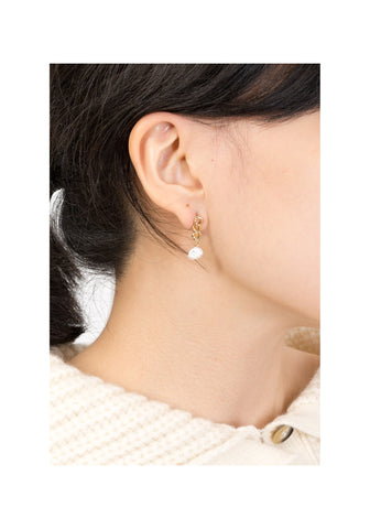 Modern Chain Fresh Water Pearl Earrings