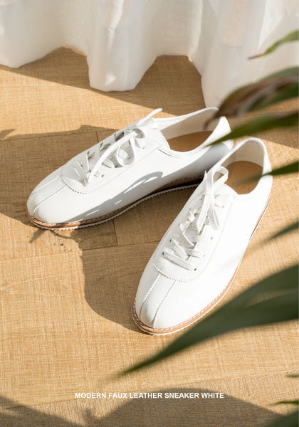 Modern Faux Leather Sneaker White