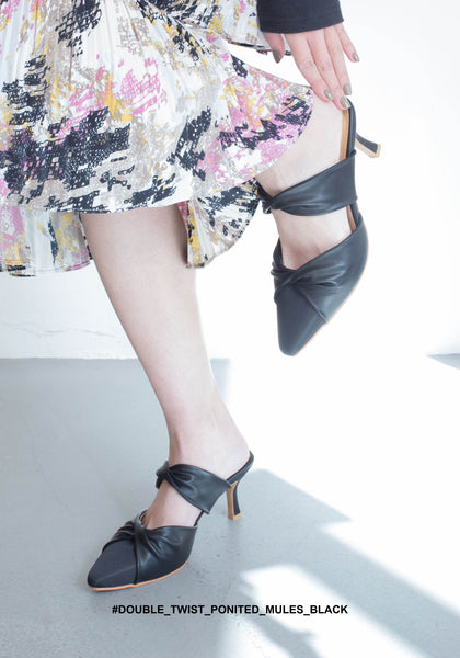 Double Twist Pointed Mules Black - whoami