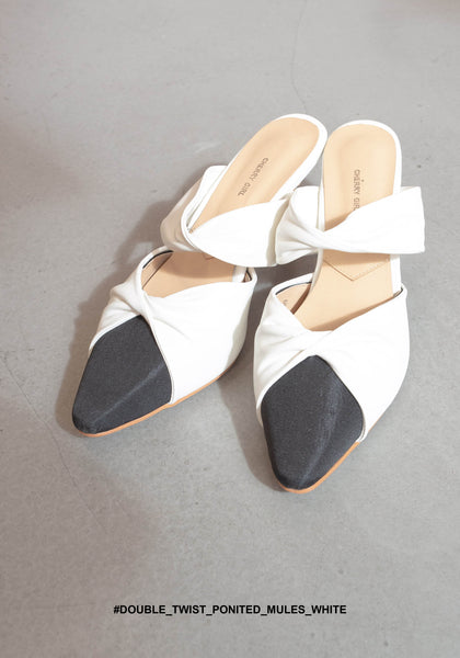 Double Twist Pointed Mules White - whoami