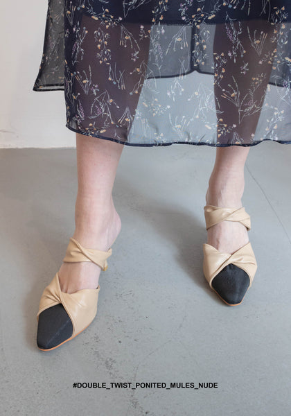 Double Twist Pointed Mules Nude - whoami