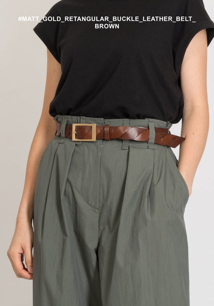Matt Gold Rectangular Buckle Leather Belt Brown - whoami