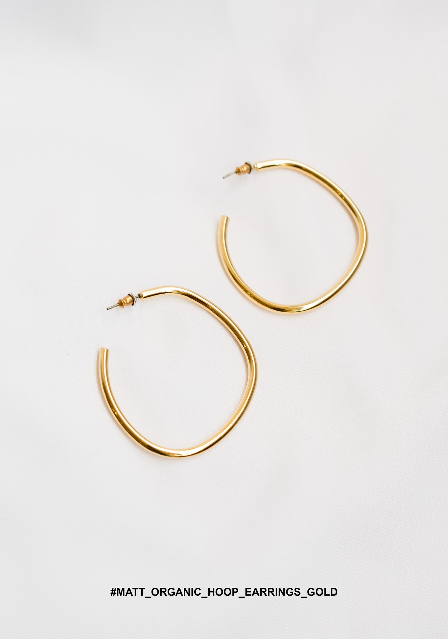 Matt Organic Hoop Earrings Gold - whoami
