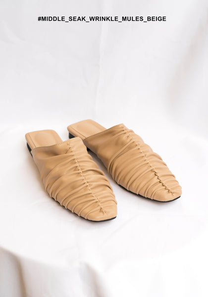 Middle Seam Wrinkle Mules Beige - whoami