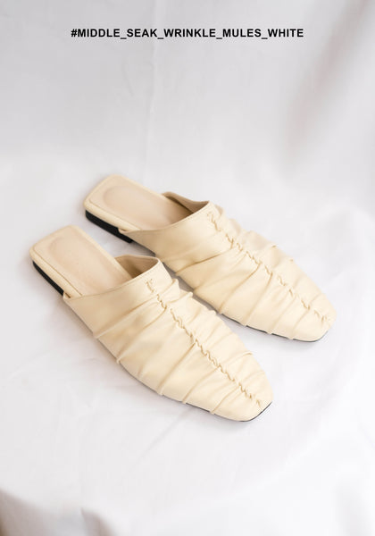 Middle Seam Wrinkle Mules White - whoami