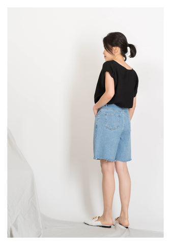 Middle Seam Raw Edge Denim Shorts