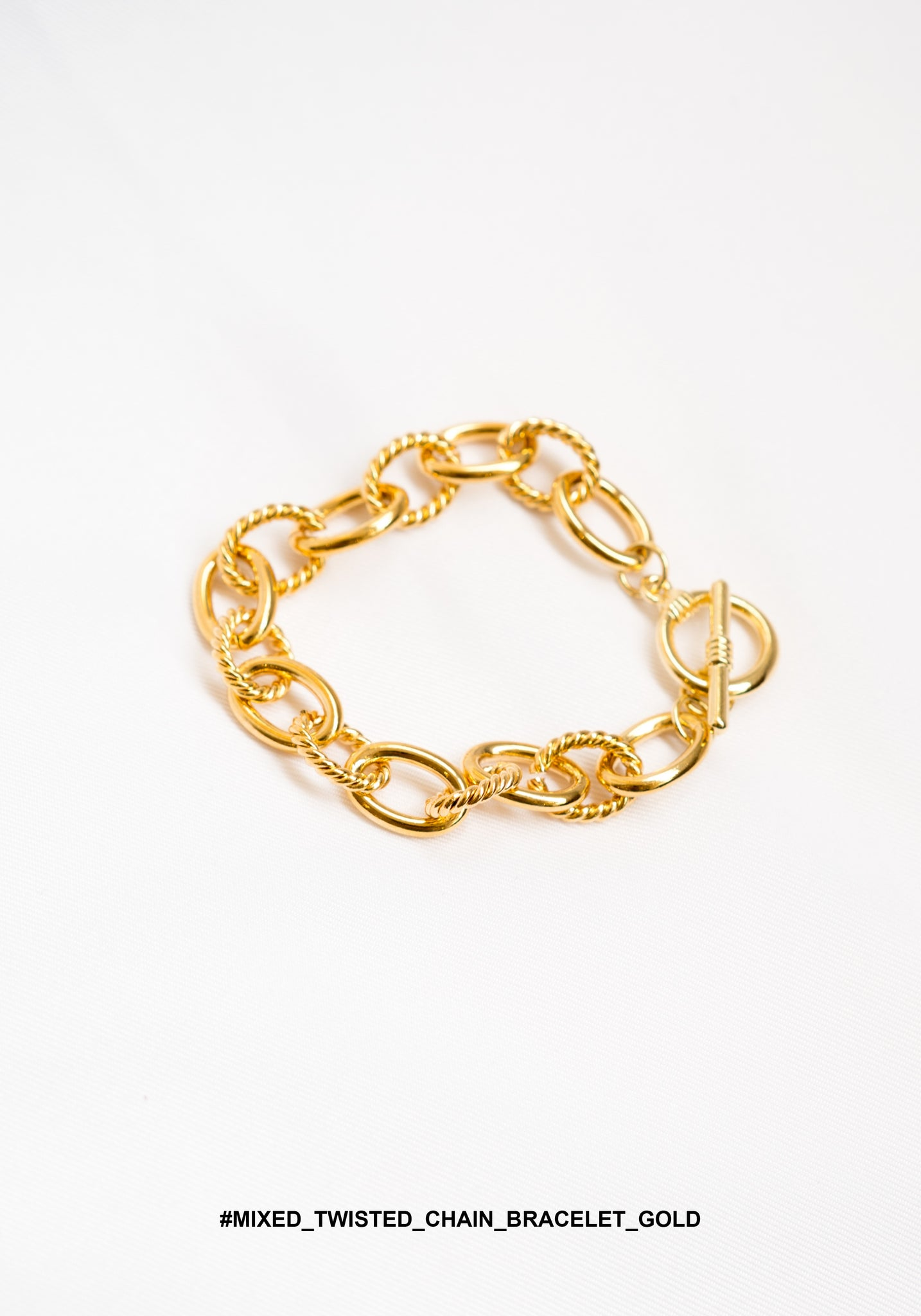 Mixed Twisted Chain Bracelet Gold - whoami