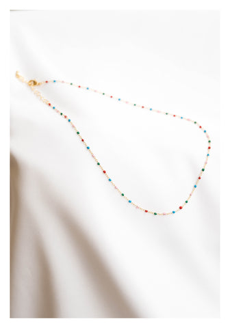 Mixed Colour Beads Necklace Gold - whoami