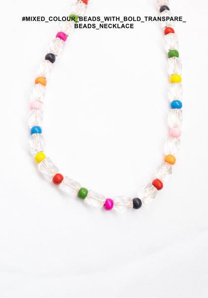 Mixed Colour Beads With Bold Transparent Beads Necklace - whoami