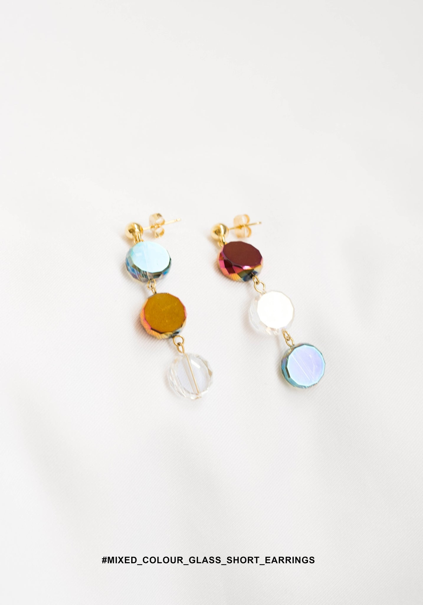Mixed Colour Glass Short Earrings - whoami