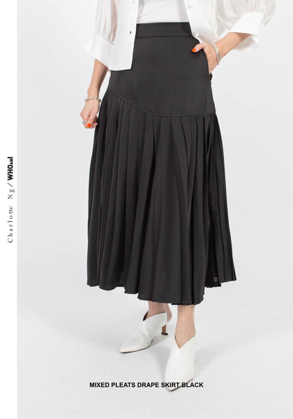 Mixed Pleats Drape Skirt Black