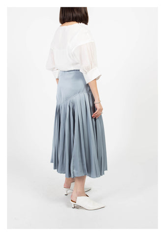 Mixed Pleats Drape Skirt Grey Blue