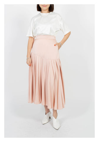 Mixed Pleats Drape Skirt Pink