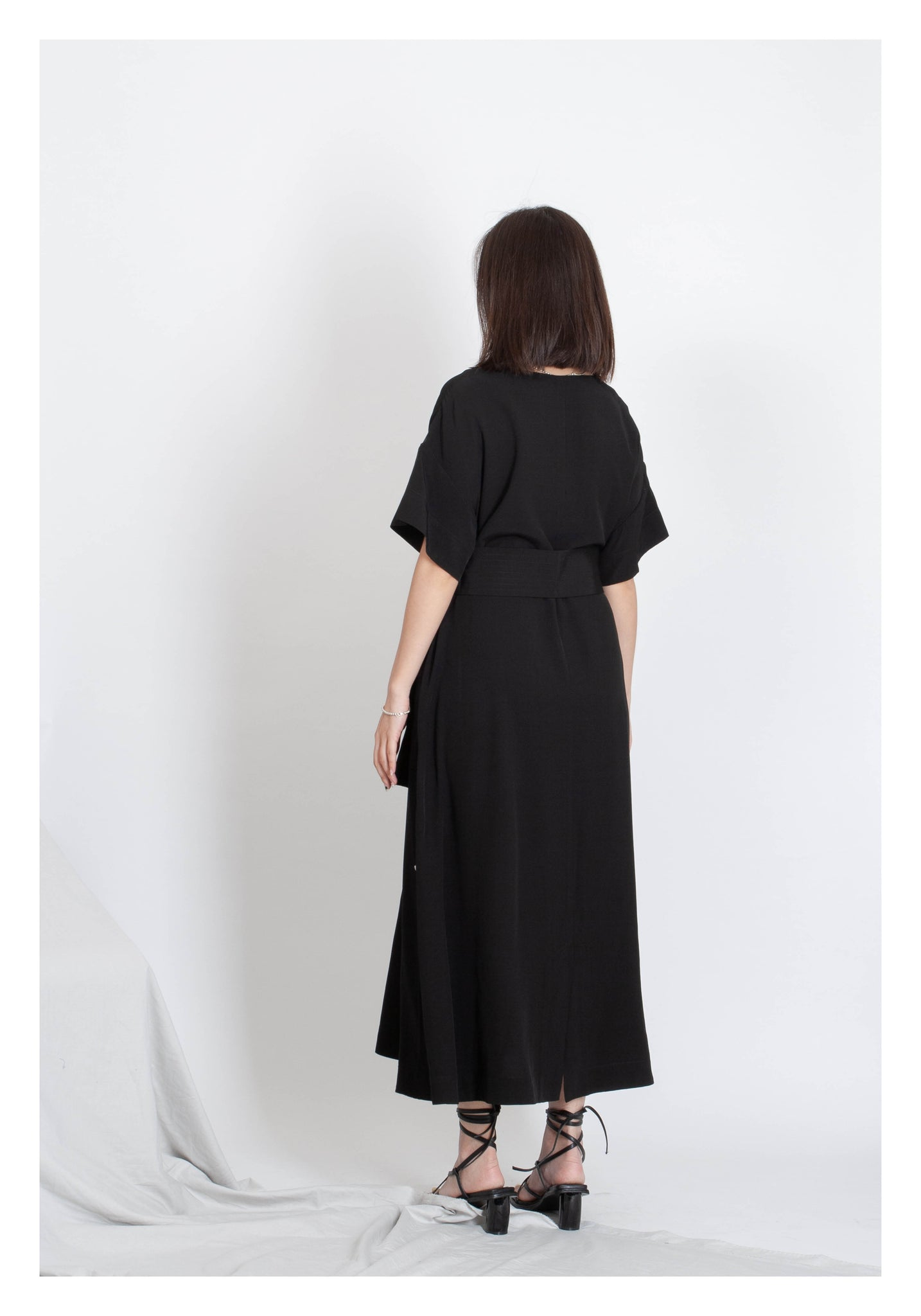 Mixed Side Buttons Dress Black - whoami