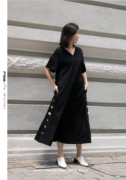 Mixed Side Buttons Dress Black