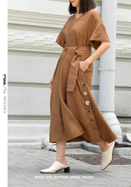 Mixed Side Buttons Dress Brown - whoami