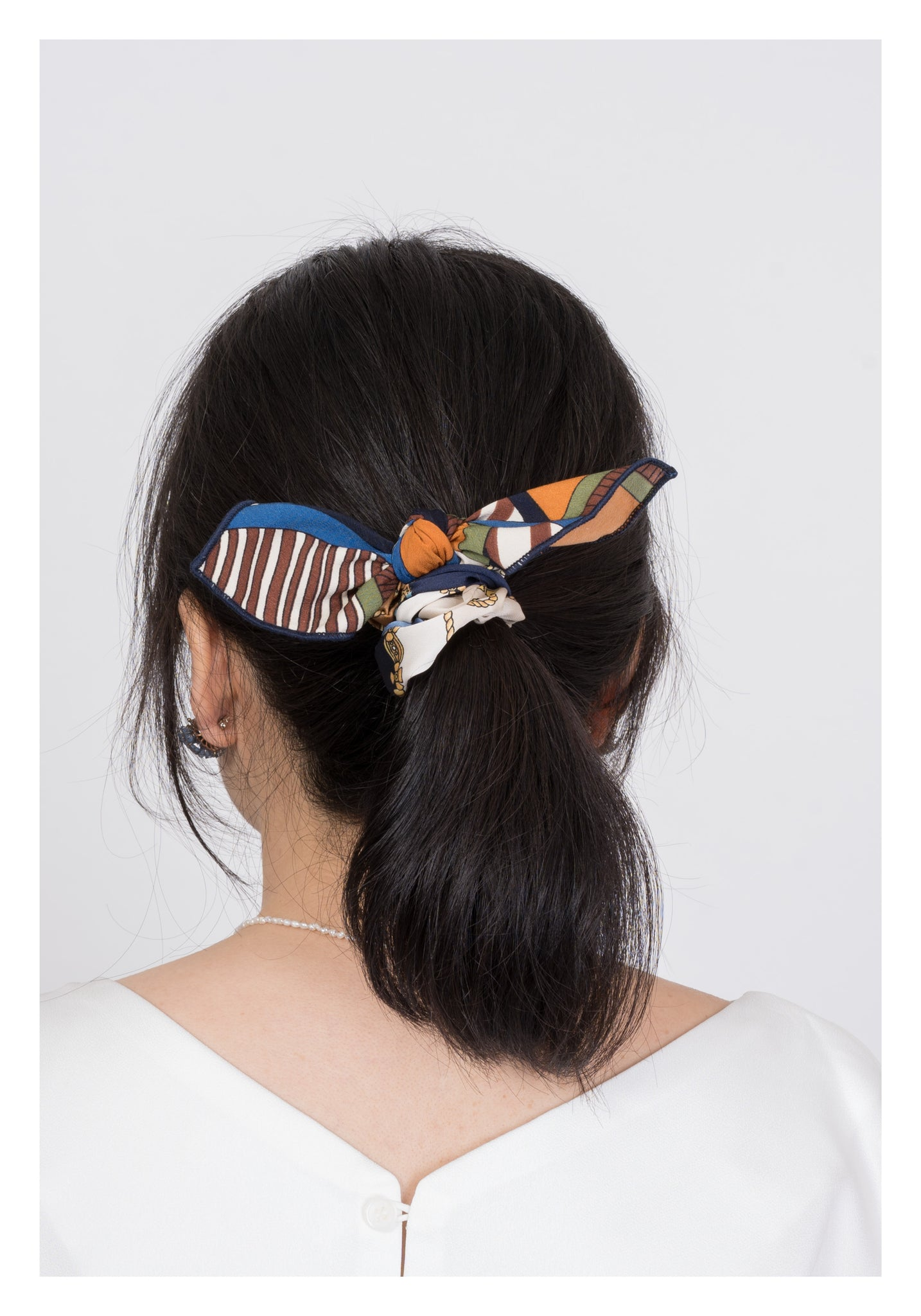 Mixed Chain Pattern Ribbon Hairband Brown - whoami