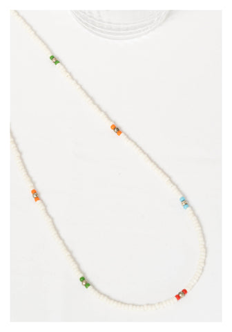 Mixed Colour Beads Necklace White