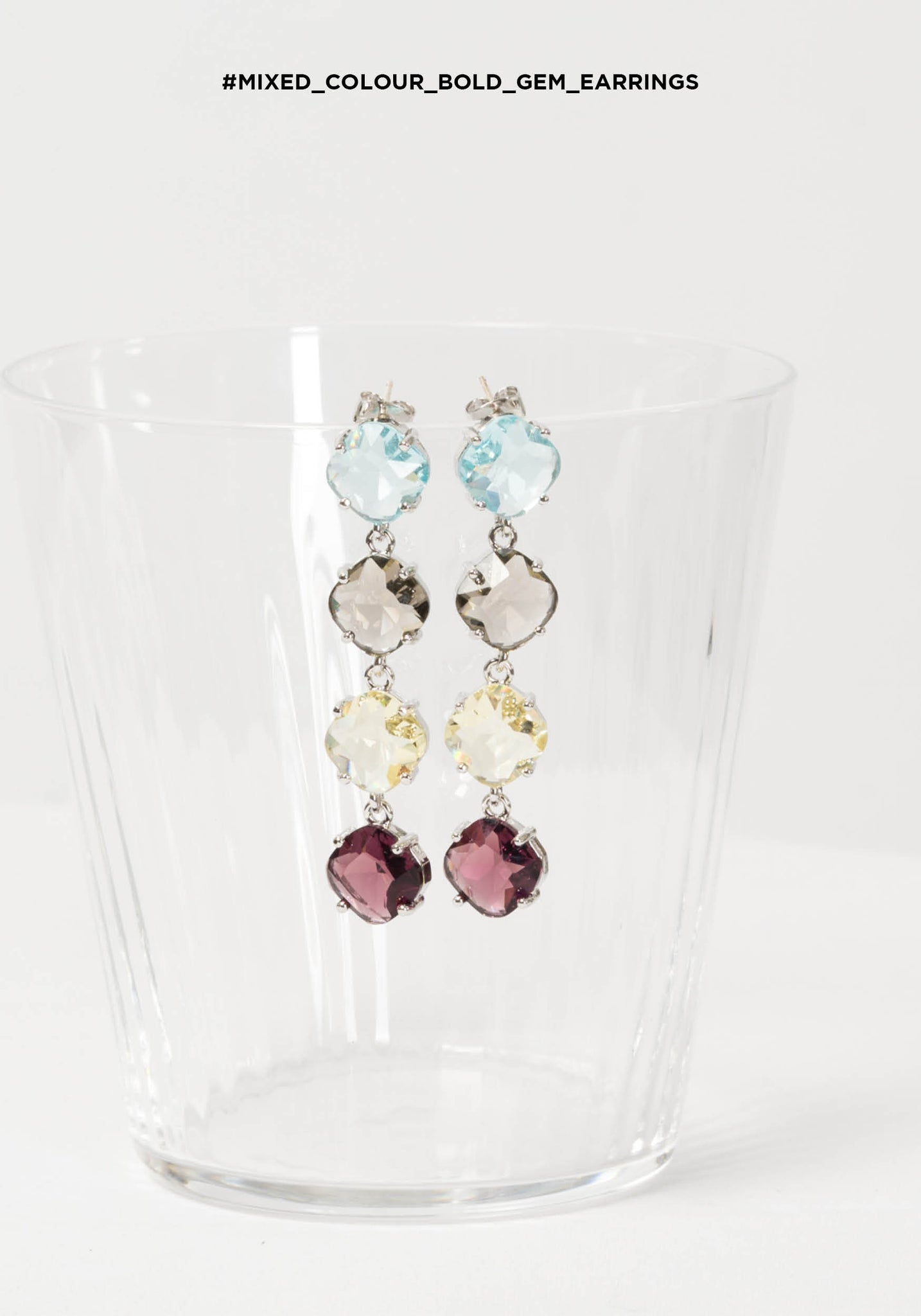 Mixed Colour Bold Gem Earrings