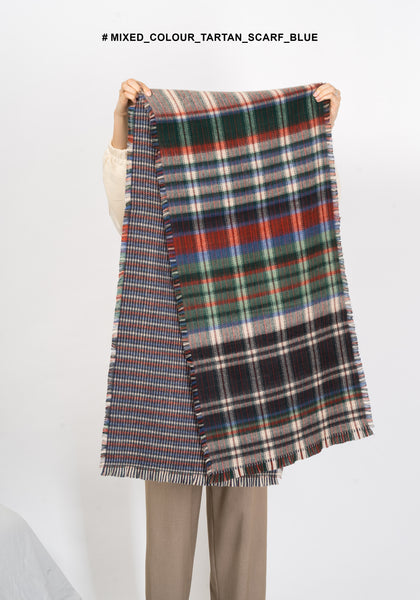 Mixed Colour Tartan Scarf Blue - whoami