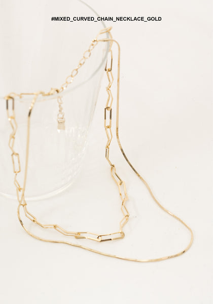 Mixed Curved Chain Necklace Gold - whoami