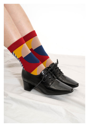Mixed Geometric Pattern Socks Red