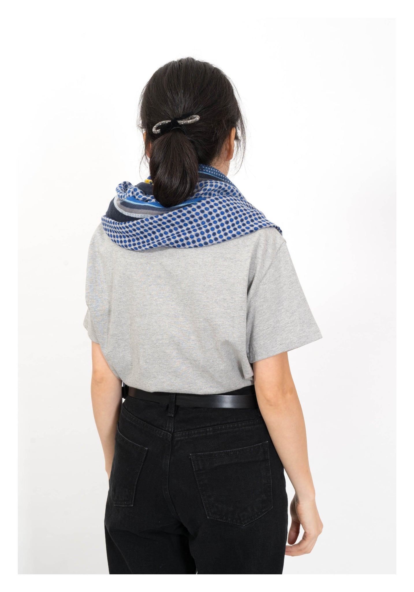 Mixed Geometry Soft Scarf Blue - whoami