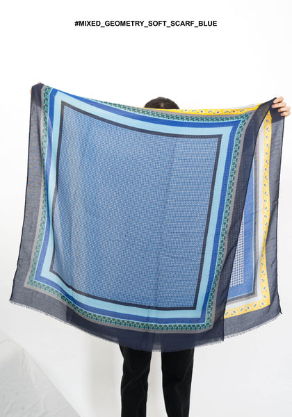 Mixed Geometry Soft Scarf Blue
