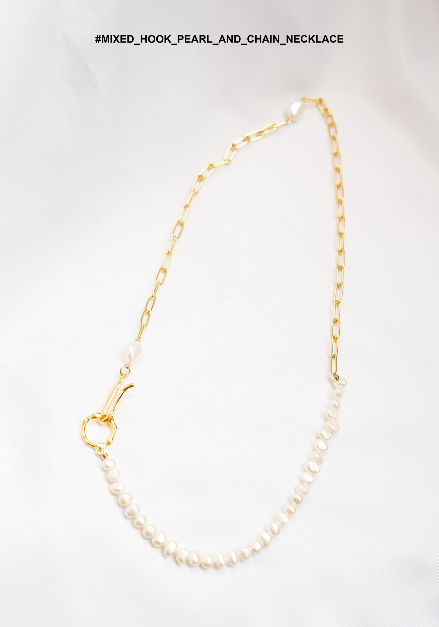 Mixed Hook Pearl And Chain Necklace - whoami