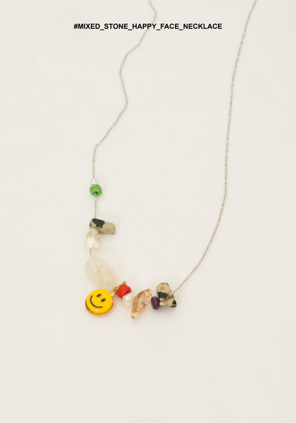 Mixed Stone Happy Face Necklace