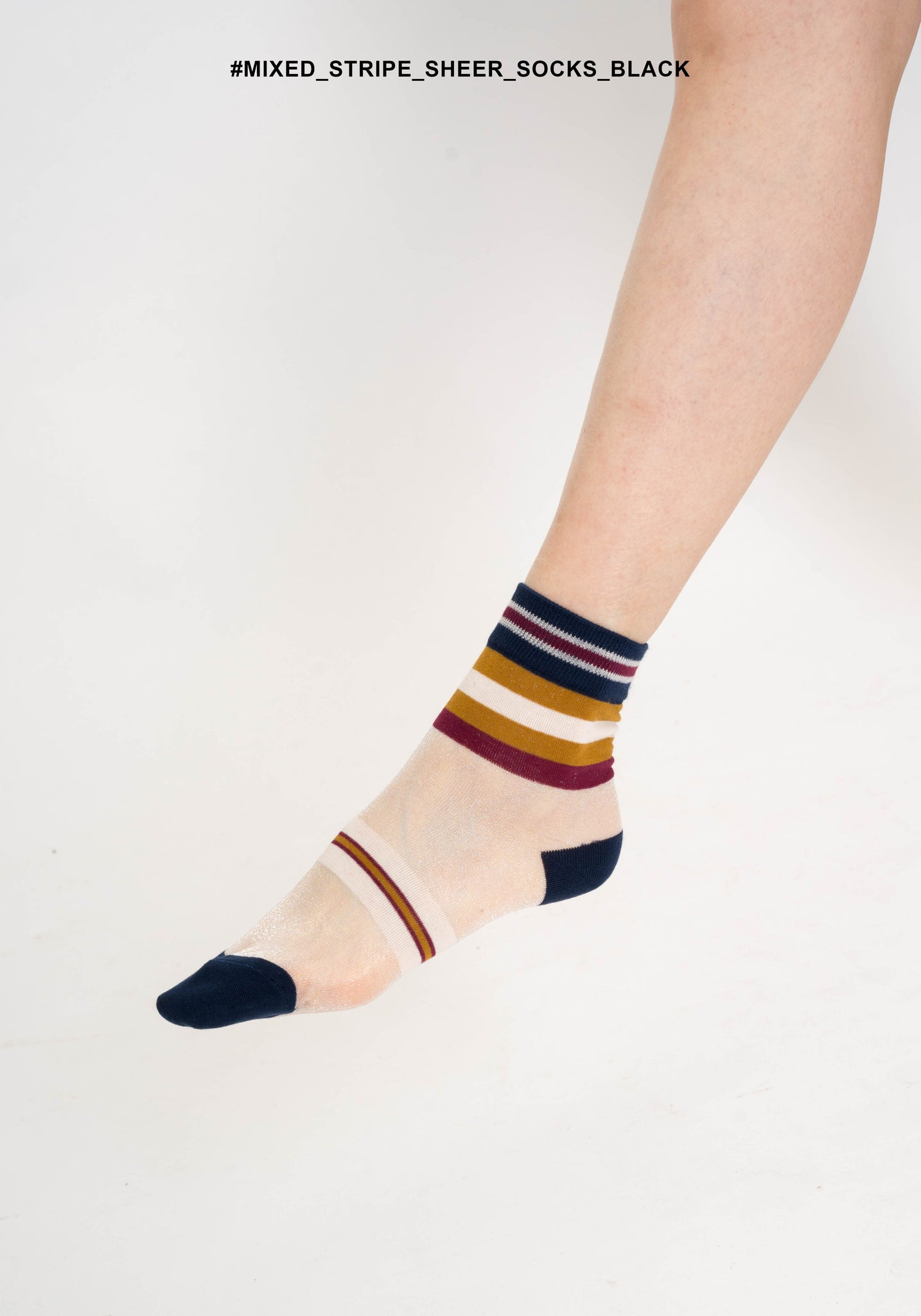 Mixed Stripe Sheer Socks Black - whoami