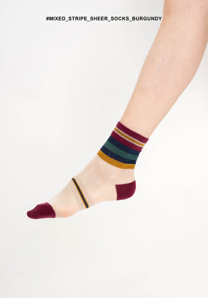 Mixed Stripe Sheer Socks Burgundy - whoami
