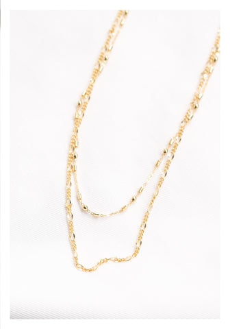Mixed Chain Double Necklace Gold - whoami