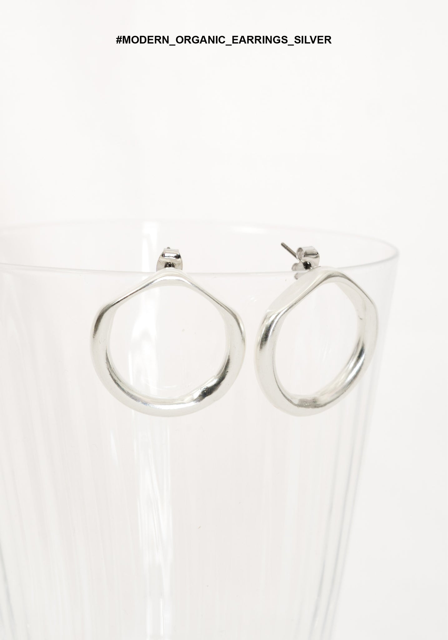 Modern Organic Earrings Silver - whoami