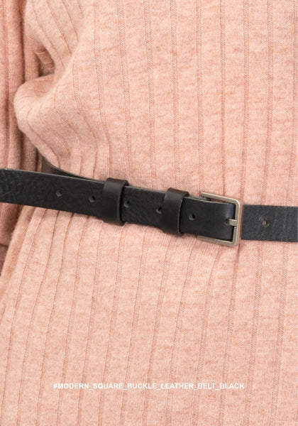 Modern Square Buckle Leather Belt Black - whoami