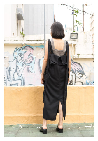 Modern Strap Vest Dress Black - whoami