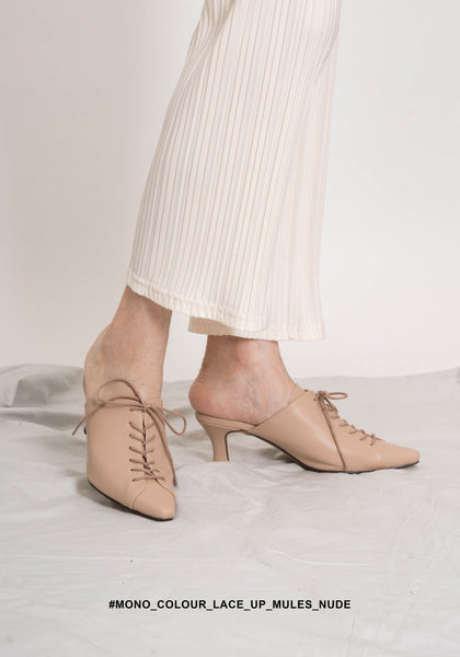 Mono Colour Lace Up Mules Nude - whoami