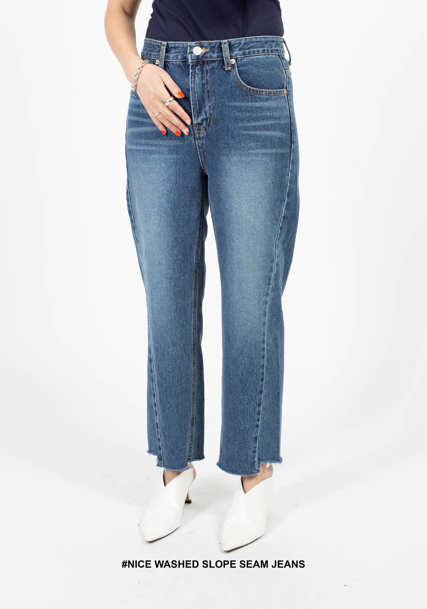 Nice Washed Slope Seam Jeans