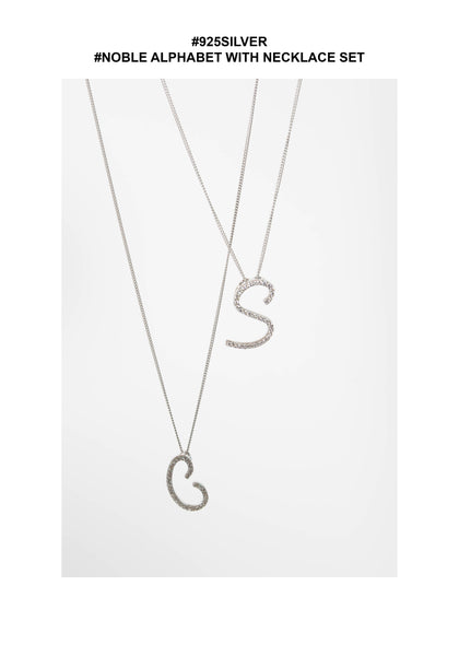 925 Silver Noble Alphabet With Necklace