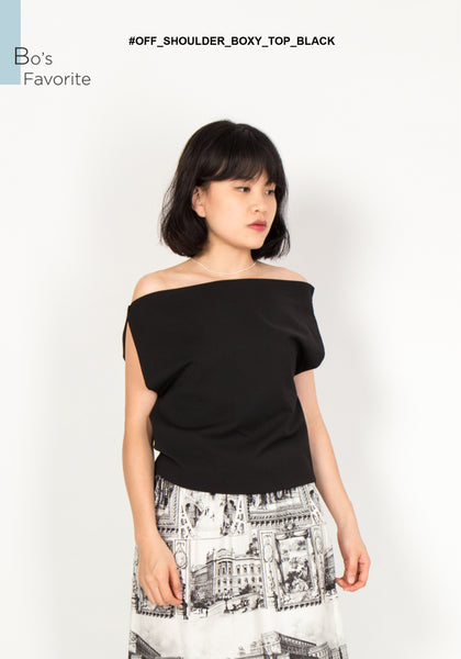 Off Shoulder Boxy Top Black