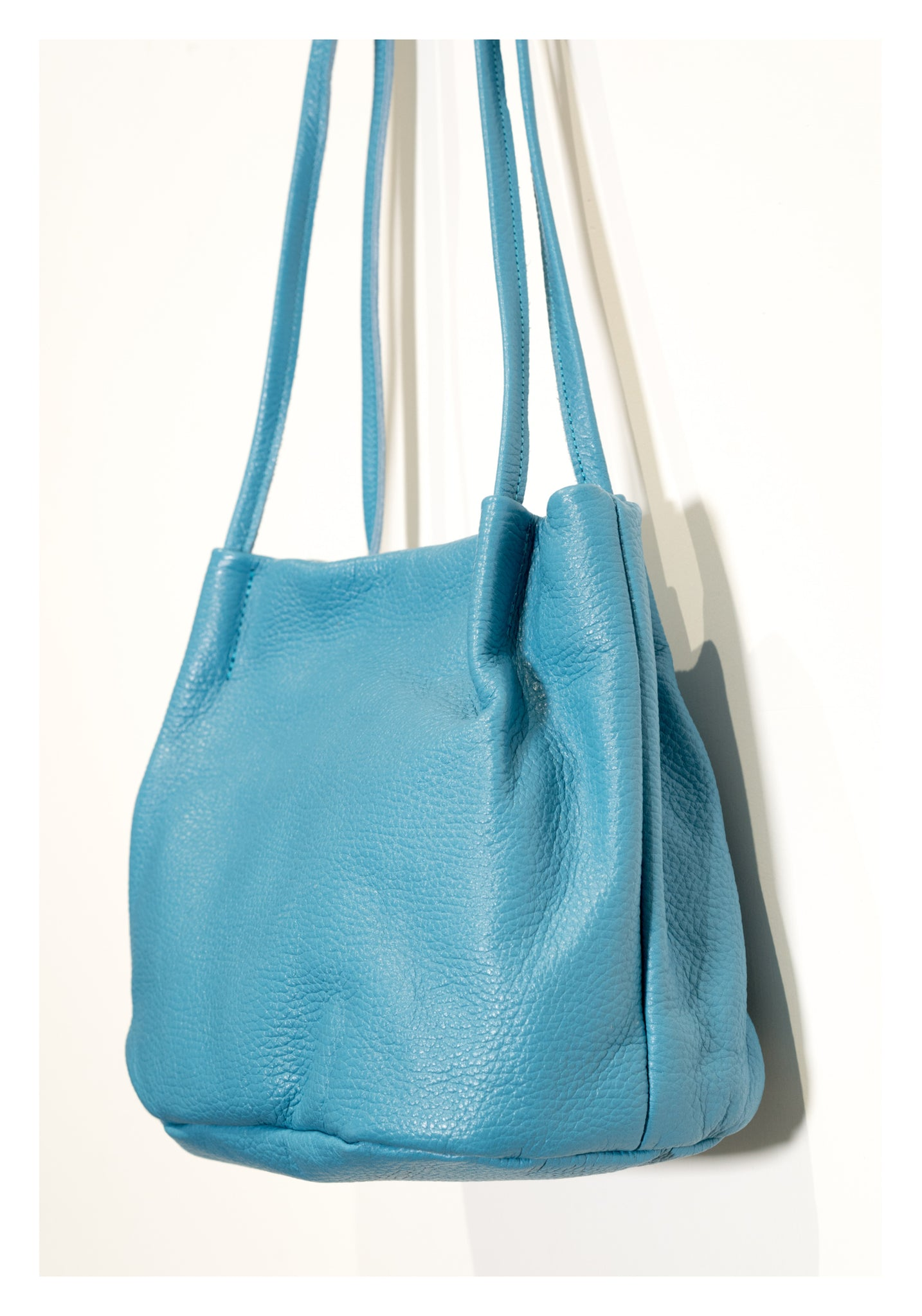 On Shoulder Square Leather Bag Blue - whoami