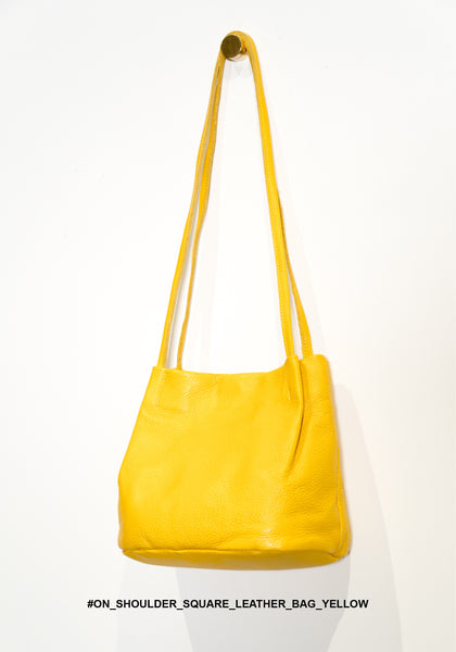 On Shoulder Square Leather Bag Yellow