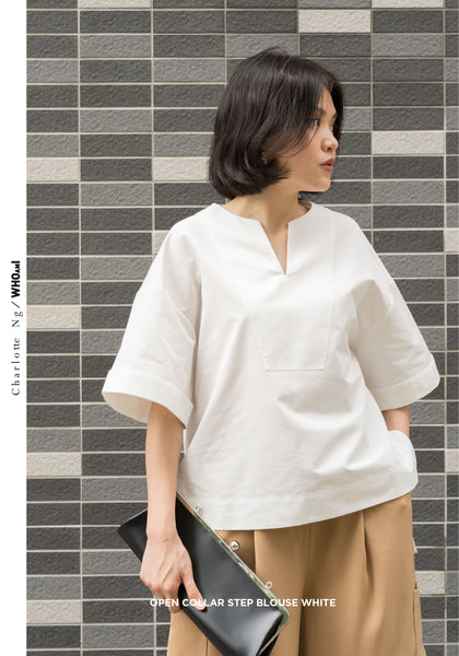 Open Collar Step Blouse White
