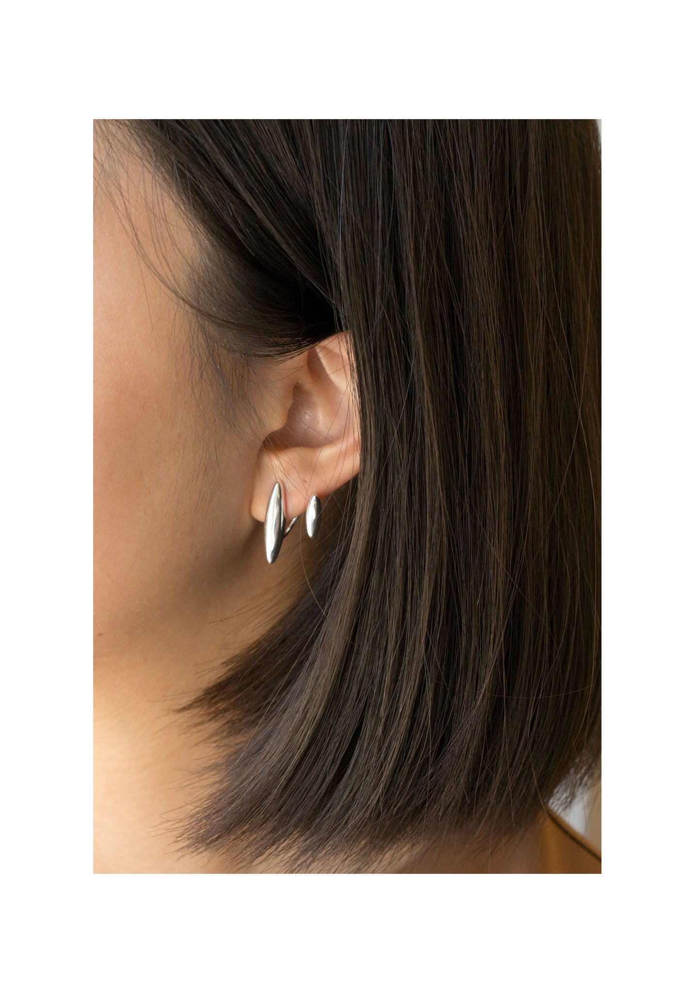925 Silver Double Almond Earrings - whoami