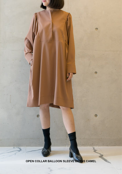 Open Collar Balloon Sleeve Dress Camel