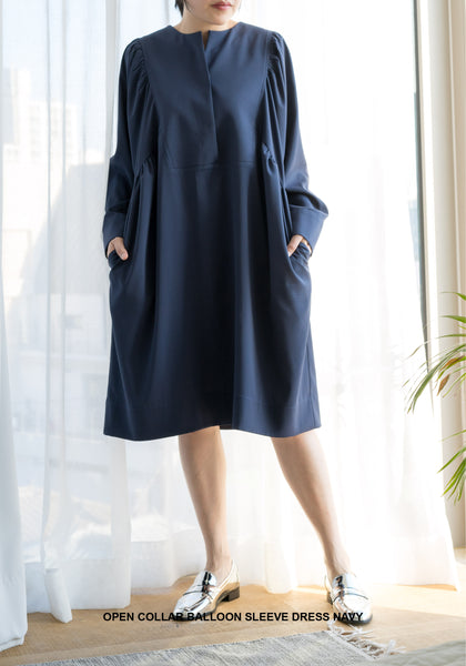 Open Collar Balloon Sleeve Dress Navy
