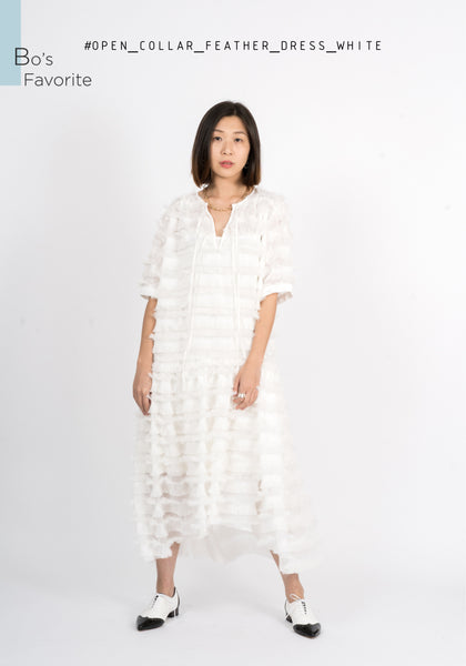 Open Collar Feather Dress White